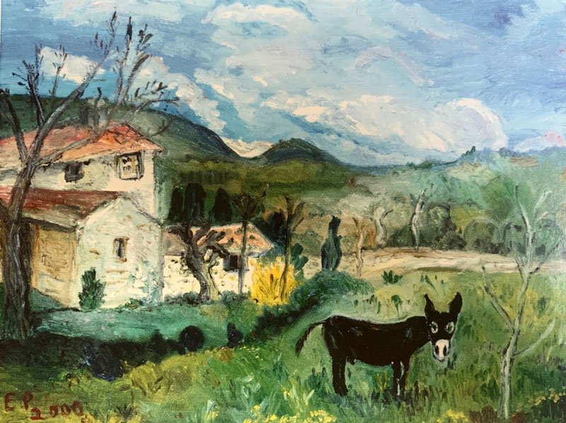Eva Pankok - Mich betrachtender Esel (Provence), 2000 (Oel auf Leinwand).jpg